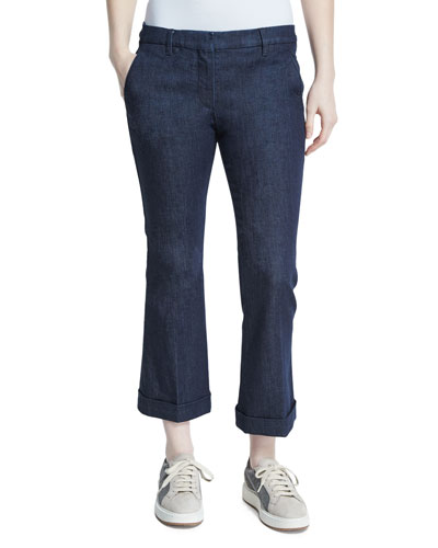 Cuffed Denim Kick Flare Jeans, Dark Wash