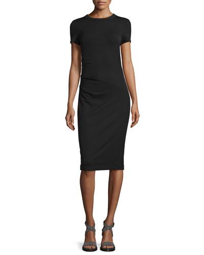 Short-Sleeve Wool Jersey Dress, Black