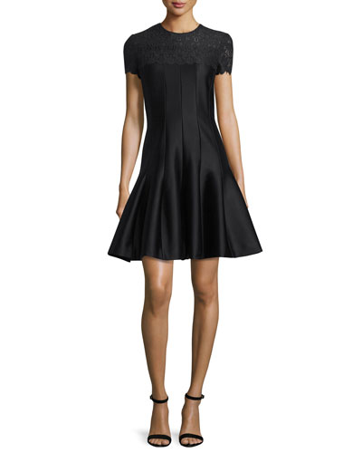 Short-Sleeve Lace-Trimmed Fit & Flare Dress, Black