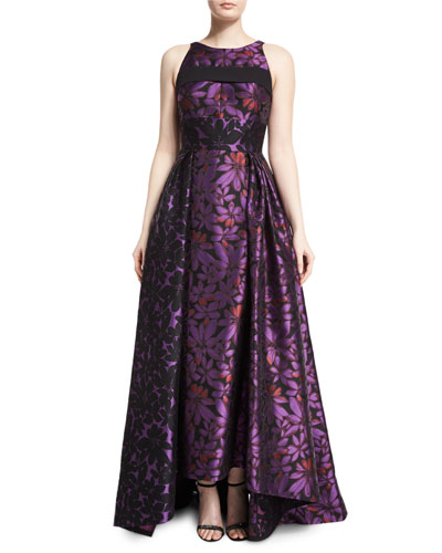 Sleeveless Open-Back Floral Jacquard Gown, Mulberry/Black