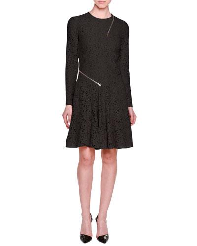Long-Sleeve Lace Dress w/Zip Trim, Black