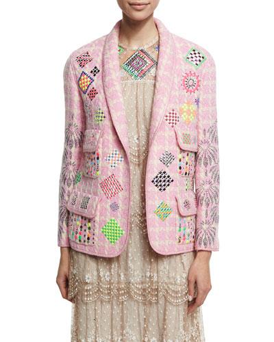 Embellished Vintage Chanel Jacket, Pink