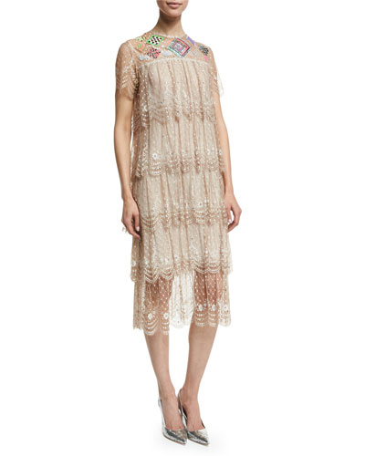 Embellished Tiered Lace Dress, Beige