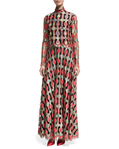 Long-Sleeve Embellished Vintage Galanos Dress, Red Pattern
