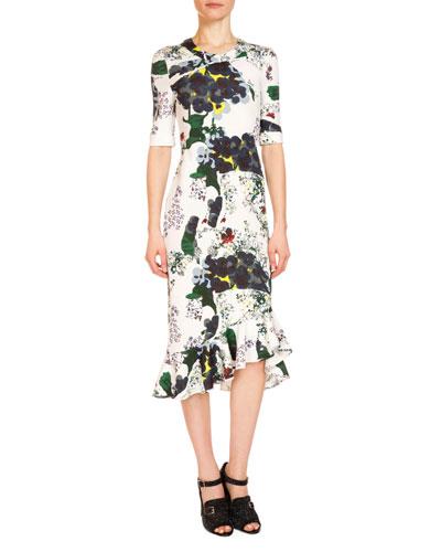 Lucy Bold Floral Half-Sleeve Midi Dress, White/Multi