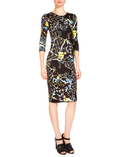 Allegra Floral-Print Crewneck Dress, Black/Multi