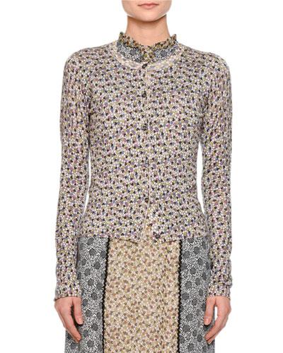 Floral-Print Cardigan Sweater, Mist/Ancient Gray