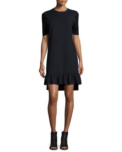 Two-Tone Half-Sleeve Ruffle-Hem Dress, Navy