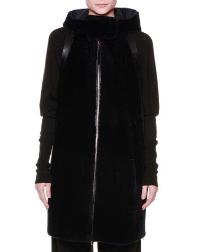 Leather Vest w/Shearling Fur Back, Black/Black
