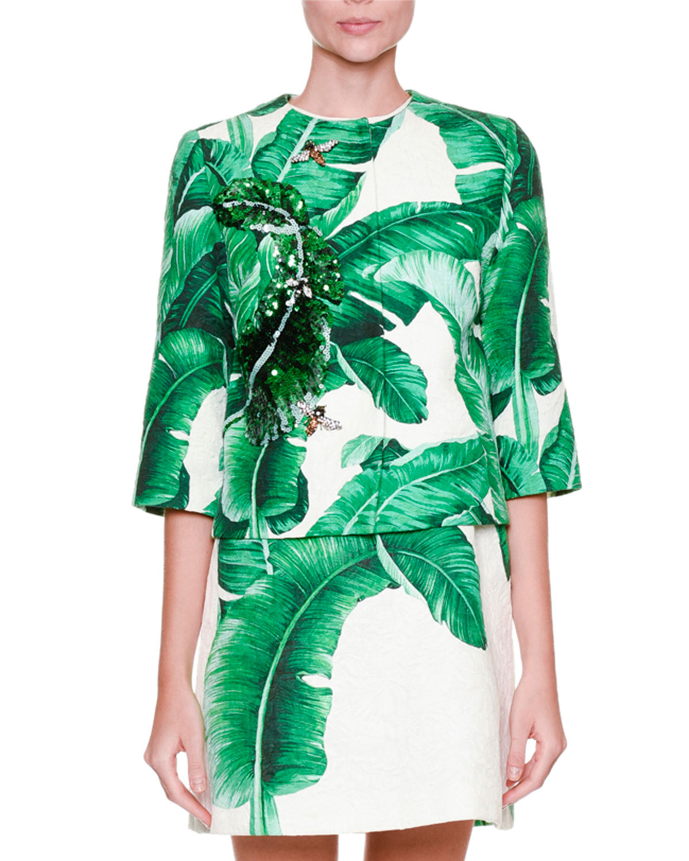 Banana Leaf-Print Jacket w/Bee Embroidery