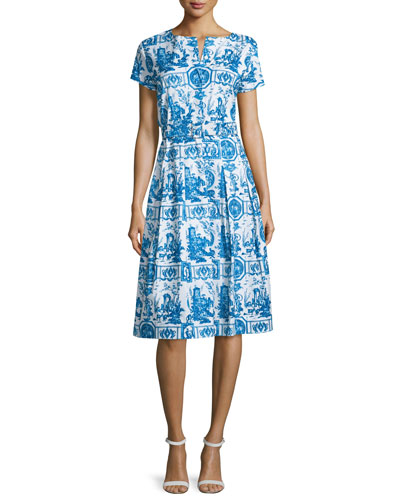 Donna Short-Sleeve Button-Front Dress, Sea Blue