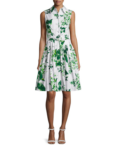 Claire Sleeveless Blossom-Print Shirtdress, White