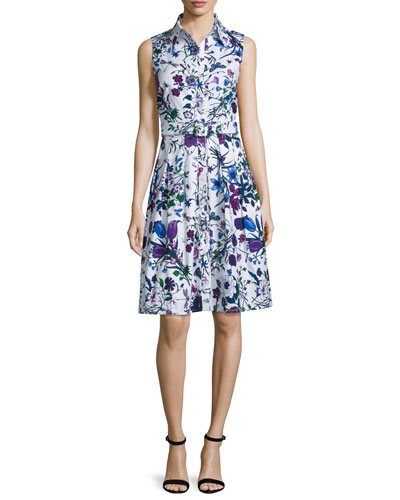 Audrey Sleeveless Floral-Print Shirtdress, White Lilac