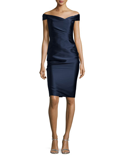 Off-the-Shoulder Ruched Cocktail Dress, Midnight