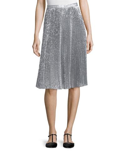 Metallic Plisse A-Line Skirt, Silver