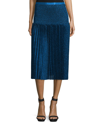 Pleated Metallic Knit Skirt, Navy