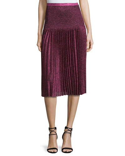 Pleated Metallic Knit Skirt, Pink