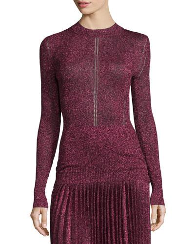 Long-Sleeve Metallic Knit Top, Pink