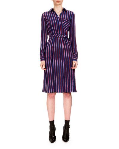 Marian Striped Silk Shirtdress, Navy/Red