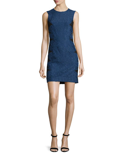 Sleeveless Lace Dress w/Contrast Reverse, Navy/Black