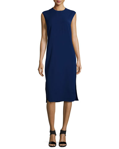 Sleeveless Two-Tone Sheath Dress, Fantasia Blue