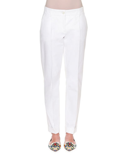 Tapered Stretch-Woven Trousers, White
