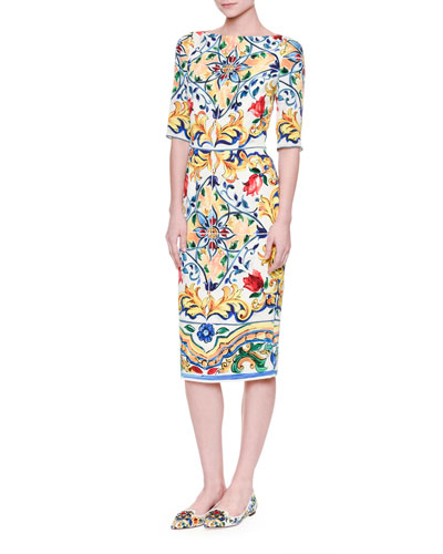 Half-Sleeve Maiolica-Print Sheath Dress