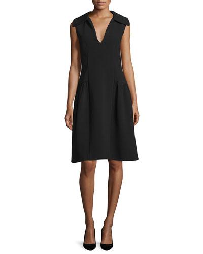 Spread Collar Crepe Dress, Black