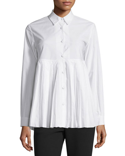 Sun Pleated Long-Sleeve  Cotton Shirt, White