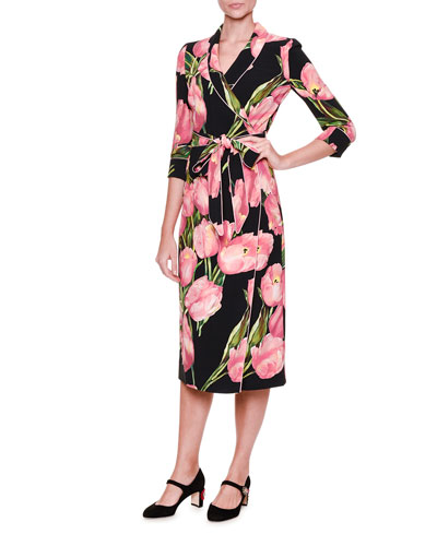 Tulip-Print Pajama Wrap-Dress, Rose/Black