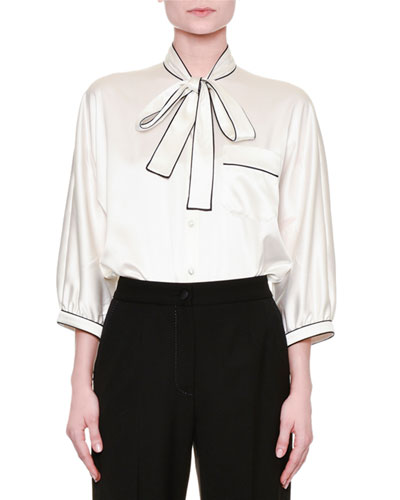 Tie-Front Pajama Silk Blouse, Ivory