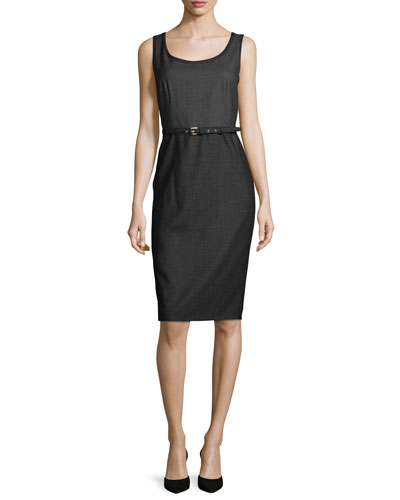 Vodka Sleeveless Belted Dress, Black