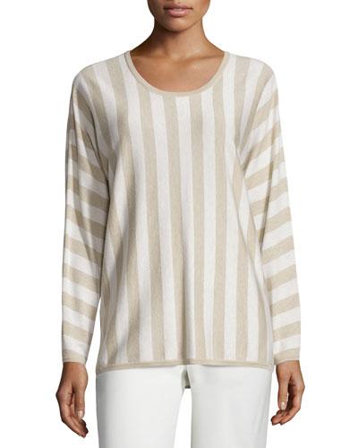 Ettore Striped Knit Top, White