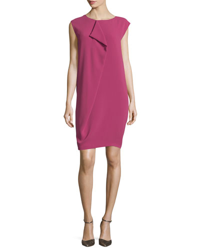 Panetto Pleated Cap-Sleeve Dress, Fuchsia