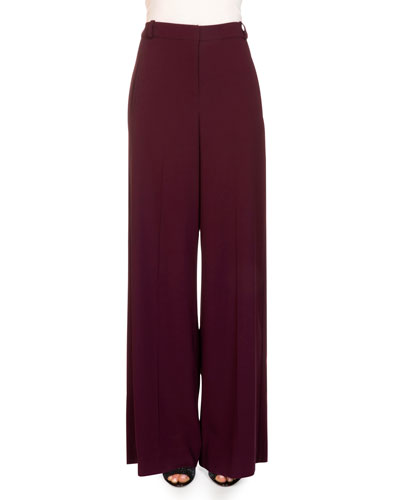 Birte Wide-Leg Pants, Burgundy
