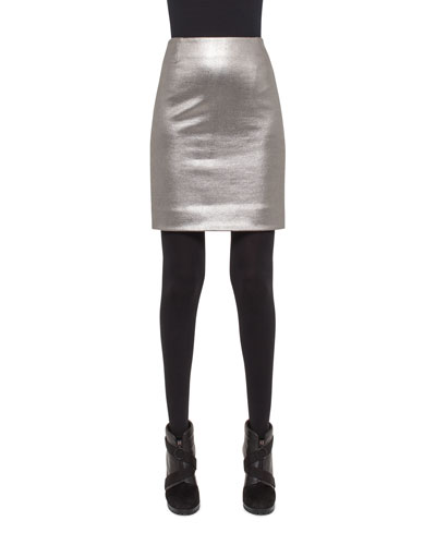 Metallic Coated Jersey Mini Skirt, Cliff