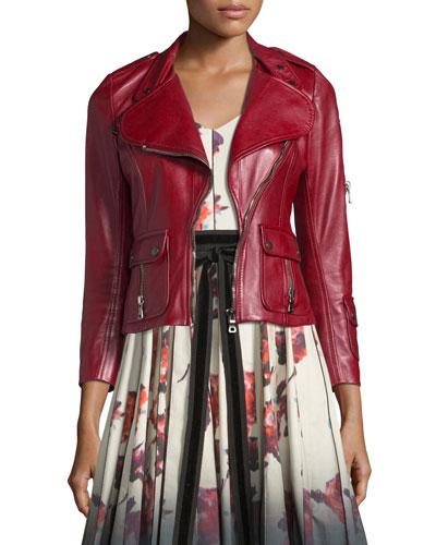 Leather Moto Jacket with Sleeve Pocket, Burgundy