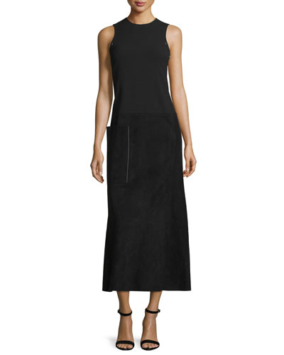 Sleeveless Suede & Wool Midi Dress, Black