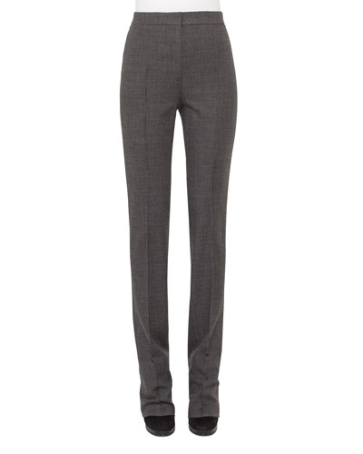 Claire Mini-Houndstooth Pants, Charcoal