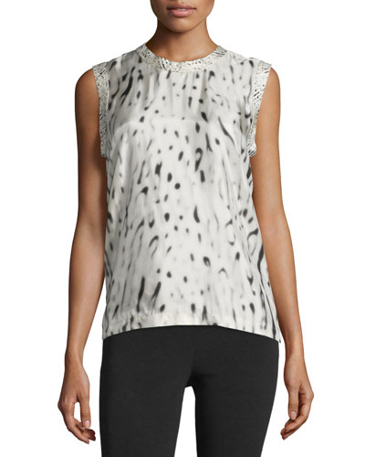 Sleeveless Printed Viscose Top, Beige