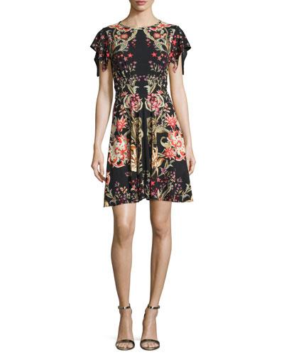 Floral-Print Flutter-Sleeve Dress, Black