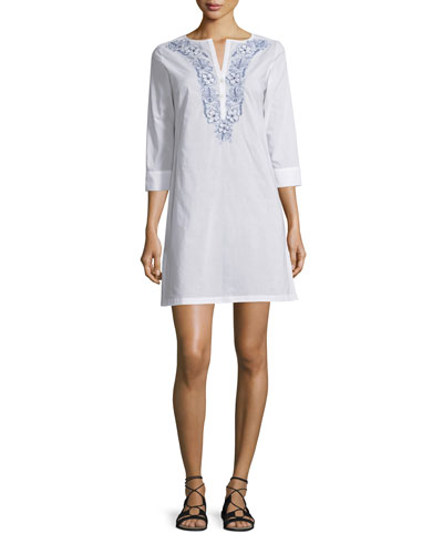 3/4-Sleeve Embroidered Poplin Tunic Dress, Natural