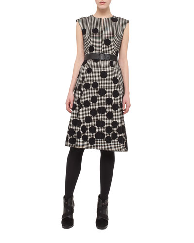 Houndstooth Punto-Dot Sheath Dress, Black/Cream
