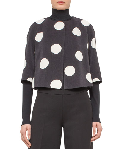 Cropped Punto Dot Bubble-Hem Jacket, Black