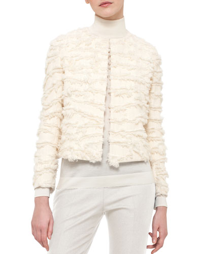 Cropped Fringe-Trim Jacket, White Pepper