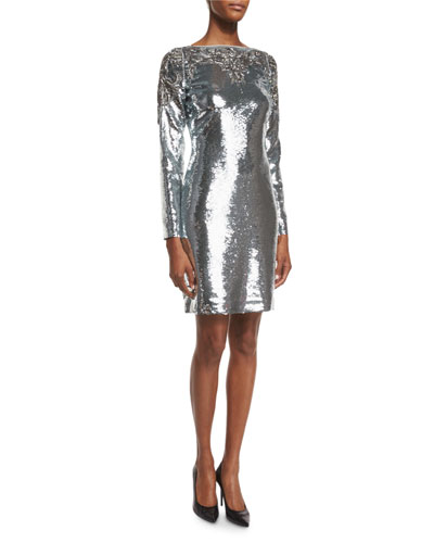 Allover Sequined Long-Sleeve Cocktail Dress, Silver