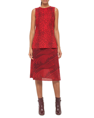 Cheetah-Print Wool Top, Pomegranate