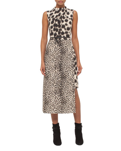 Cheetah-Print Asymmetric-Hem Dress, Date/Steppe