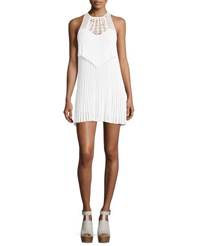 Sleeveless Macrame Halter Dress, White