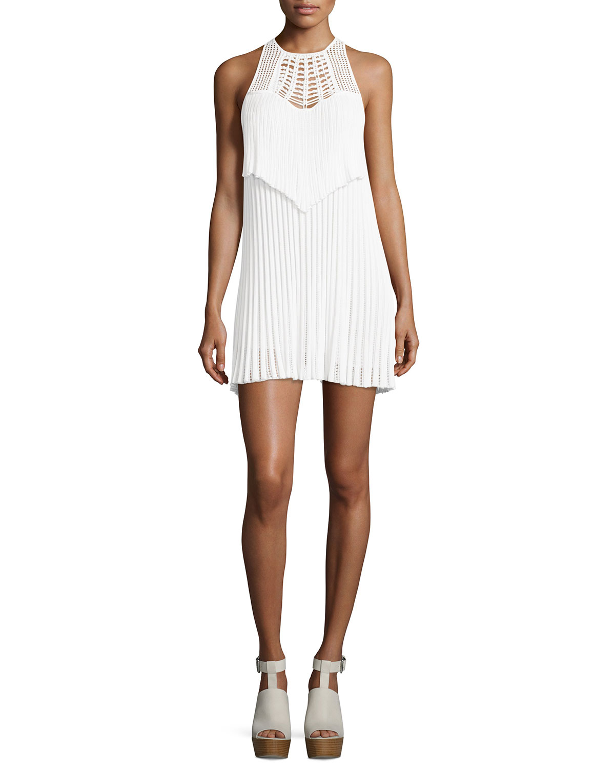 Sleeveless Macrame Halter Dress, White